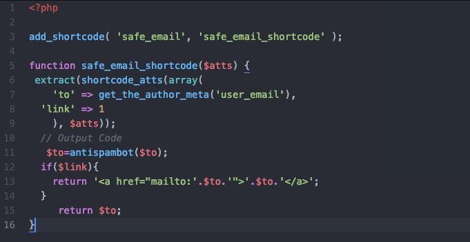 shortcode safe email